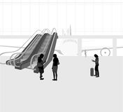 The airport scene. Vector silhouette people travel background Stock Images