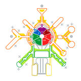 Airport scheme. Colorful technical illustration of abstract airport scheme Stock Photo
