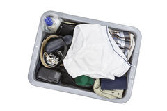 Airport screening tray with underwear. Royalty Free Stock Image