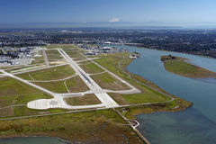 Airport on the Sea Island. Metro Vancouver and Mt. Baker stock photo