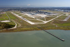 Airport on the Sea Island. Metro Vancouver and Mt. Baker Stock Photography