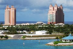 The Airport Of Sea Planes. The little airport for sea planes with skyscrapers on Paradise Island, The Bahamas stock images