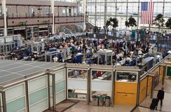 Airport Security. Crowds waiting to pass through the security lines at the Denver International Airport in Denver, Colorado, USA.  Useful for a variety of Royalty Free Stock Photo