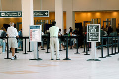 Airport security. An airport security area entrance stock image