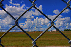 Airport Security. On the outside, looking in, at the Ottawa Airport on a sunny summer day Stock Photo