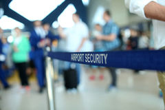 Airport security. An airport security area entrance, blue strap stock images