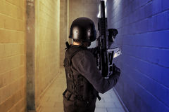 Airport security, armed police Stock Photography