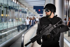 Airport security, armed police Royalty Free Stock Image