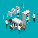Airport Security Check Isometric Composition Poster. Airport safety security gates check isometric composition with hand baggage screening and passengers control Royalty Free Stock Photography