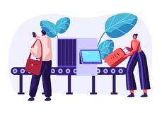 Airport Security Conveyor Belt Scanner. Terminal Checkpoint Metal Detector with Traveler Characters and Baggage. Passengers. Check Luggage on X-ray. Vector flat stock illustration
