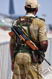 Airport Security Guard. A CISF Jawan guards the tarmac during the Aero India 2013 Show in Bangalore, India Stock Image