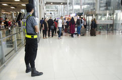 Airport Security Guard standing for security and protection peop Stock Images