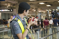 Airport Security Guard standing for security and protection peop Royalty Free Stock Photo