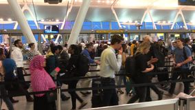 Airport security line moving quickly stock video