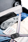 Airport security - luggage inspection. Airport security - luggage and suitcase inspection with notice from government authority Stock Photos