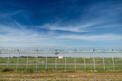 Airport Security Restricted Area fence royalty free stock photo