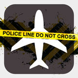 Airport Security Screening. Illustration terrorist or criminal activity with police tape reading POLICE LINE DO NOT CROSS Stock Photos