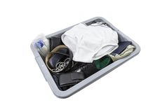 Airport Security Screening Tray with Underwear Stock Photography