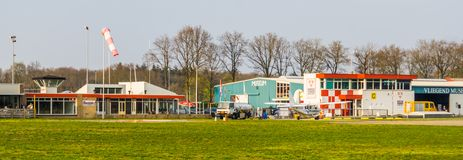Airport seppe Breda with museum, Bosschenhoofd, north brabant, The netherlands, March 30, 2019. Airport seppe Breda with museum, Bosschenhoofd, north brabant royalty free stock photos