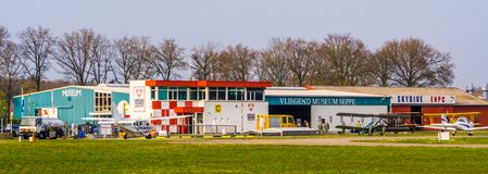 Airport seppe Breda with museum and sky dive ENPC, Bosschenhoofd, north Brabant, the Netherlands, March 30, 2019. Airport seppe Breda with museum and sky dive royalty free stock photo