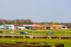 Airport seppe Breda view from the road, popular recreational location, Bosschenhoofd, The Netherlands, March 30, 2019. The Airport seppe Breda view from the road royalty free stock images