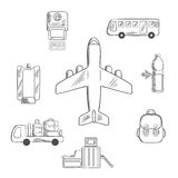 Airport service and aviation sketch icons. Airport and aviation service icons for infographic design with airplane surrounded by passport control, metal detector Stock Photography