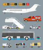 Airport set with baggage cart. Airport infographic set with business jet, passenger bus and baggage carts in CMYK Royalty Free Stock Photo
