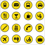 Airport Shopping mall Icons set illustrator Royalty Free Stock Photography