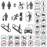 Airport, Shopping mall Icons set Royalty Free Stock Photo