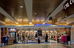 Airport Shopping Newsstand. Hudson News popular bookstore and magazine stand in airports with customers royalty free stock photos