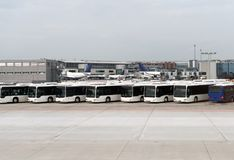 Airport shuttle buses. Stock Image