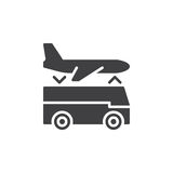 Airport shuttle transfer service icon vector, filled flat sign, solid pictogram isolated on white. Royalty Free Stock Images