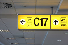 Airport sign. Yellow airport sign for departure Stock Image