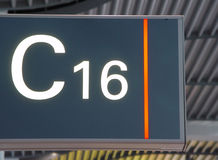 Airport sign. Gate number at Hamburg airport Royalty Free Stock Images