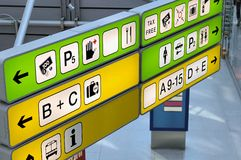 Airport sign. A lot of airport sign at berlin tegel airport Stock Photos