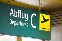 Airport sign. Sign at the aiport which leads the way to the departure Royalty Free Stock Photos