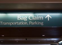 Airport sign. Bag claim transportation parking Stock Images