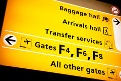 Airport Sign. A sign at an aiport with directions to various services Royalty Free Stock Photos