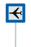 Airport sign, blue isolated road traffic airplane icon signage and signpost pole post, large detailed closeup. Airport sign, blue isolated road traffic airplane Royalty Free Stock Image