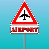 Airport sign and blue sky background Royalty Free Stock Image