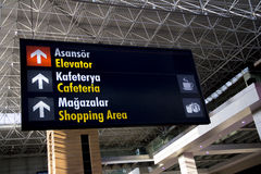 Airport sign of cafeteria, elevator, shopping Stock Image