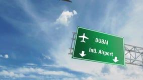 Airport sign. Dubai airplane passing overhead vector illustration