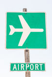 Airport Sign in Green and White Royalty Free Stock Photography