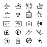 Airport sign icons set Royalty Free Stock Image