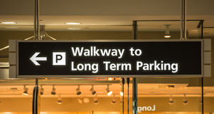 Airport Sign to Long Term Parking Stock Photos