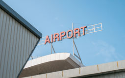 Airport Signage On Top Of Airport Building Stock Photo