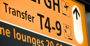 Airport signage Transfer Stock Photography