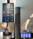 Airport signboard. Helpful information signboard/signage placed at strategic location at an airport stock photography