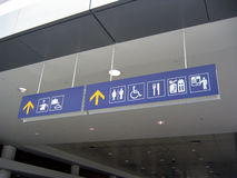 Airport signs. For lost and found, baggage check, toilets/washrooms, duty-free shopping area, cafe / restaurant, disabled access and arrival / departure Stock Images