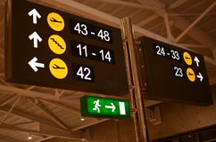 Airport signs. Signs of numbers of gates and directions at Larnaca international airport, Cyprus royalty free stock photography
